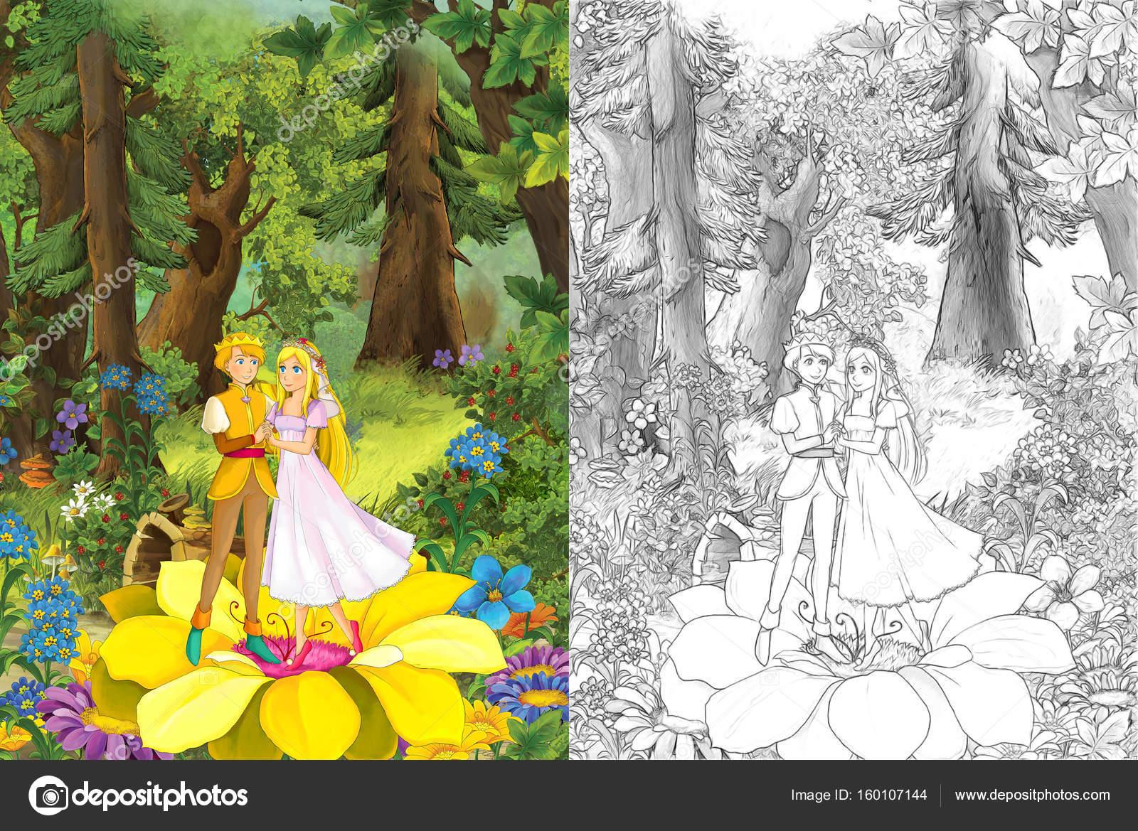 Yakışıklı Prens Ve Prensler Ormandaki Stok Foto Illustratorhft