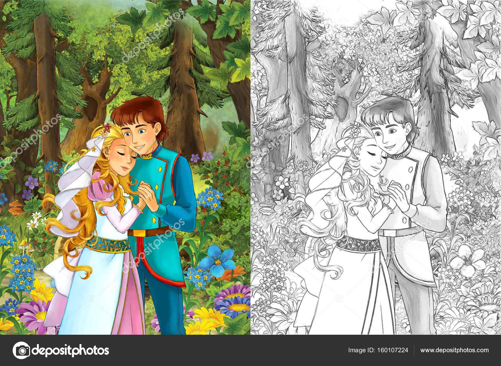 Yakışıklı Prens Ve Prenses Ormanda Stok Foto Illustratorhft