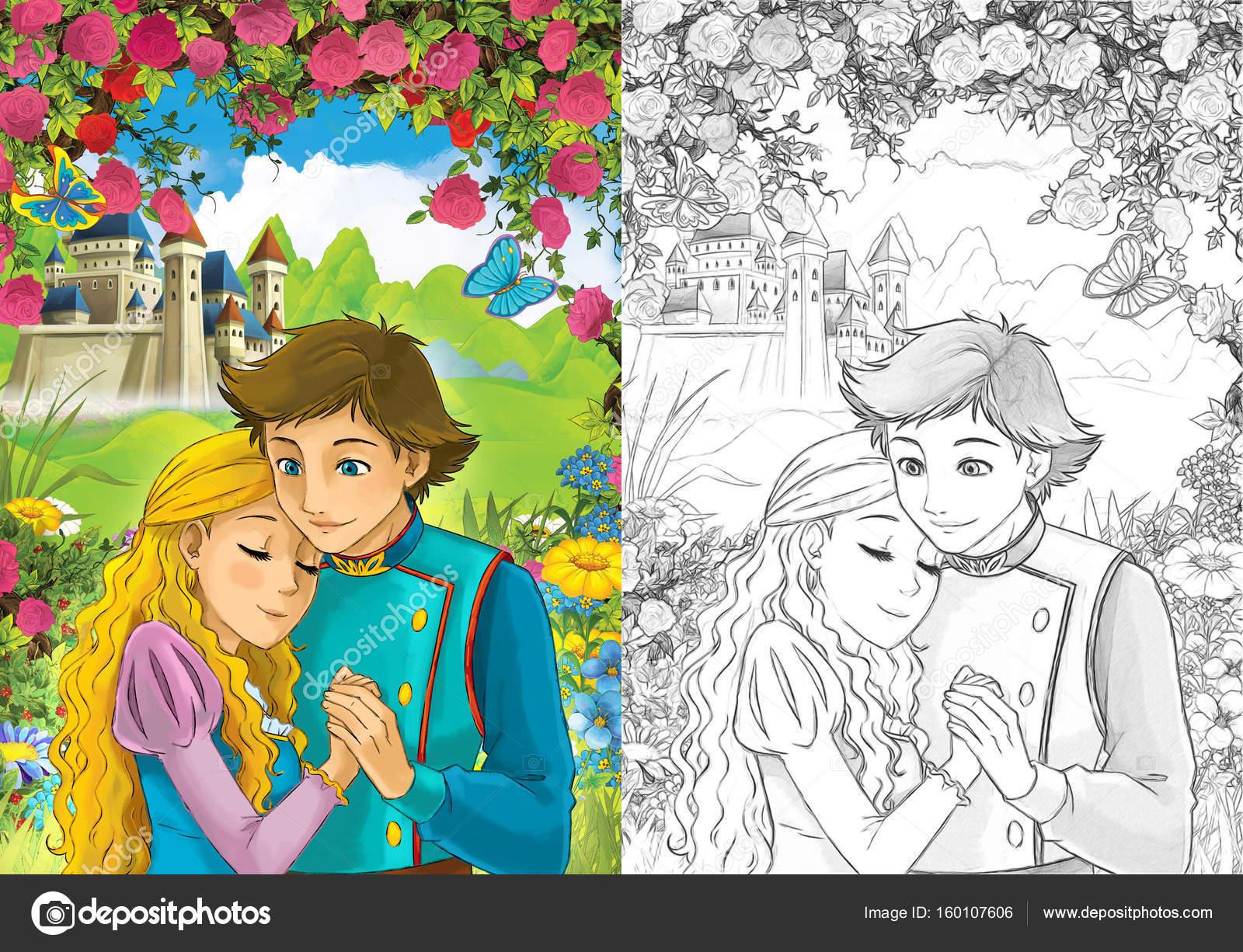 Liebespaar Prinz Und Prinzessin Stockfoto