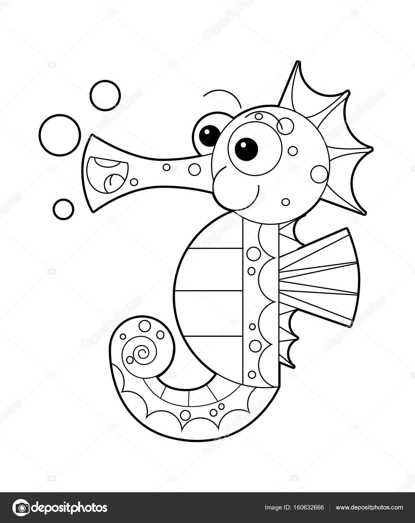 Denizatı Sayfa Boyama Için Bubbles Ile Stok Foto