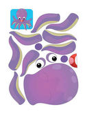 Photo cartoon character puzzle - isolated octopus