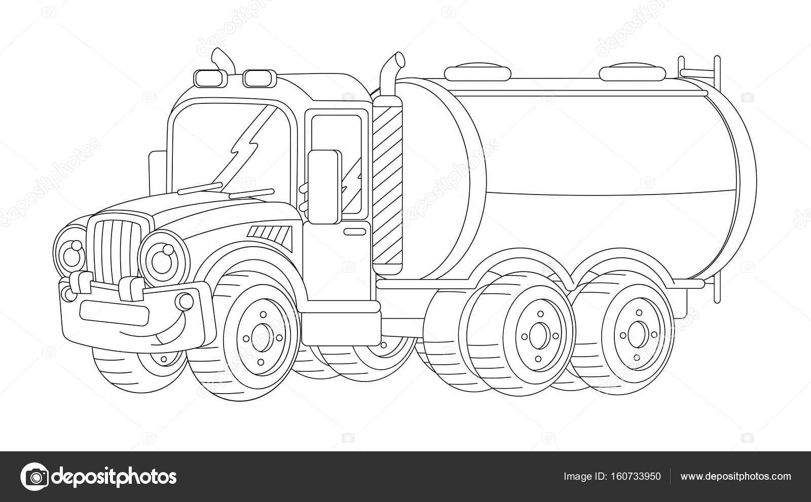 Tank Ile Karikatür Mutlu Kargo Kamyon Stok Foto Illustratorhft