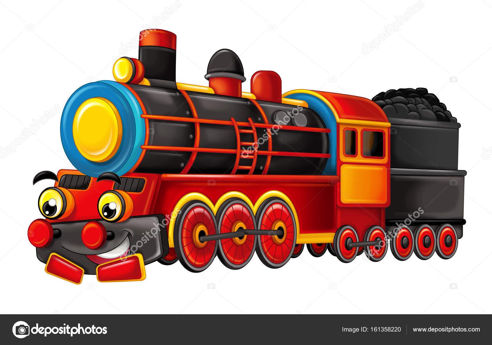 Dibujos animados gracioso buscando tren de vapor — Foto de stock ...