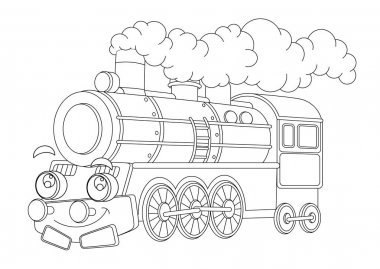 Cartoon funny looking steam train