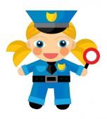Kreslené postavičky - policista dívku, samostatný
