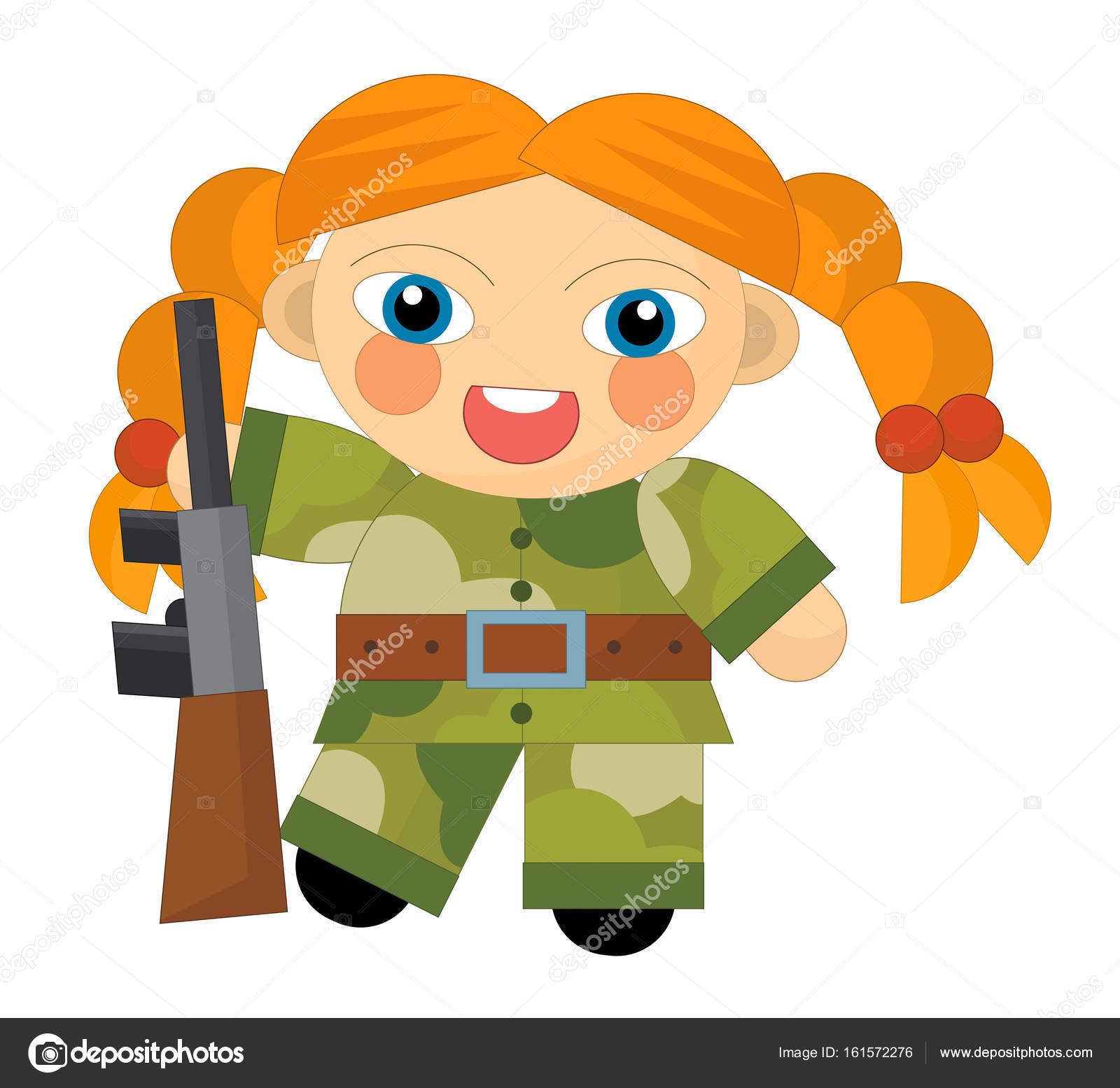 personagem de desenho animado garota soldado no deserto