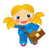 kreslené postavičky - pošťák dívka