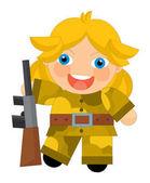 Kreslené postavičky - pouštní voják dívka