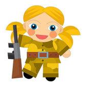 Kreslené postavičky - voják dívka