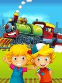 Kreslený vlak scéna s šťastné děti