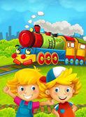 Cartoon train scene with happy kids