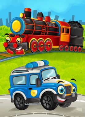 Cartoon train scene on the meadow with off road police truck - illustration for the children stock vector