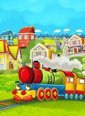 Kreslený vlak scéna na louce