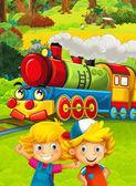 vlak s dětmi baví na hřišti