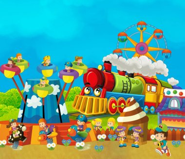 funfair - amusement park with steam train