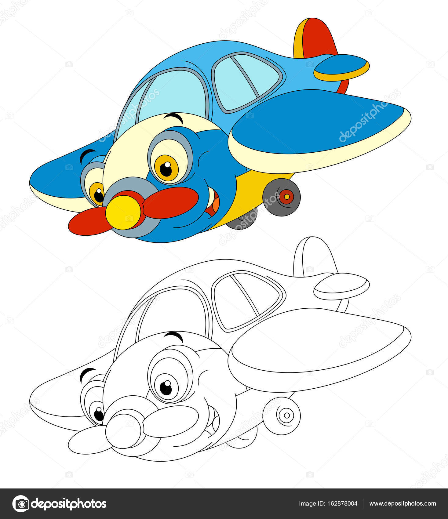 Traditional Plane With Propeller Smiling And Flying Stock