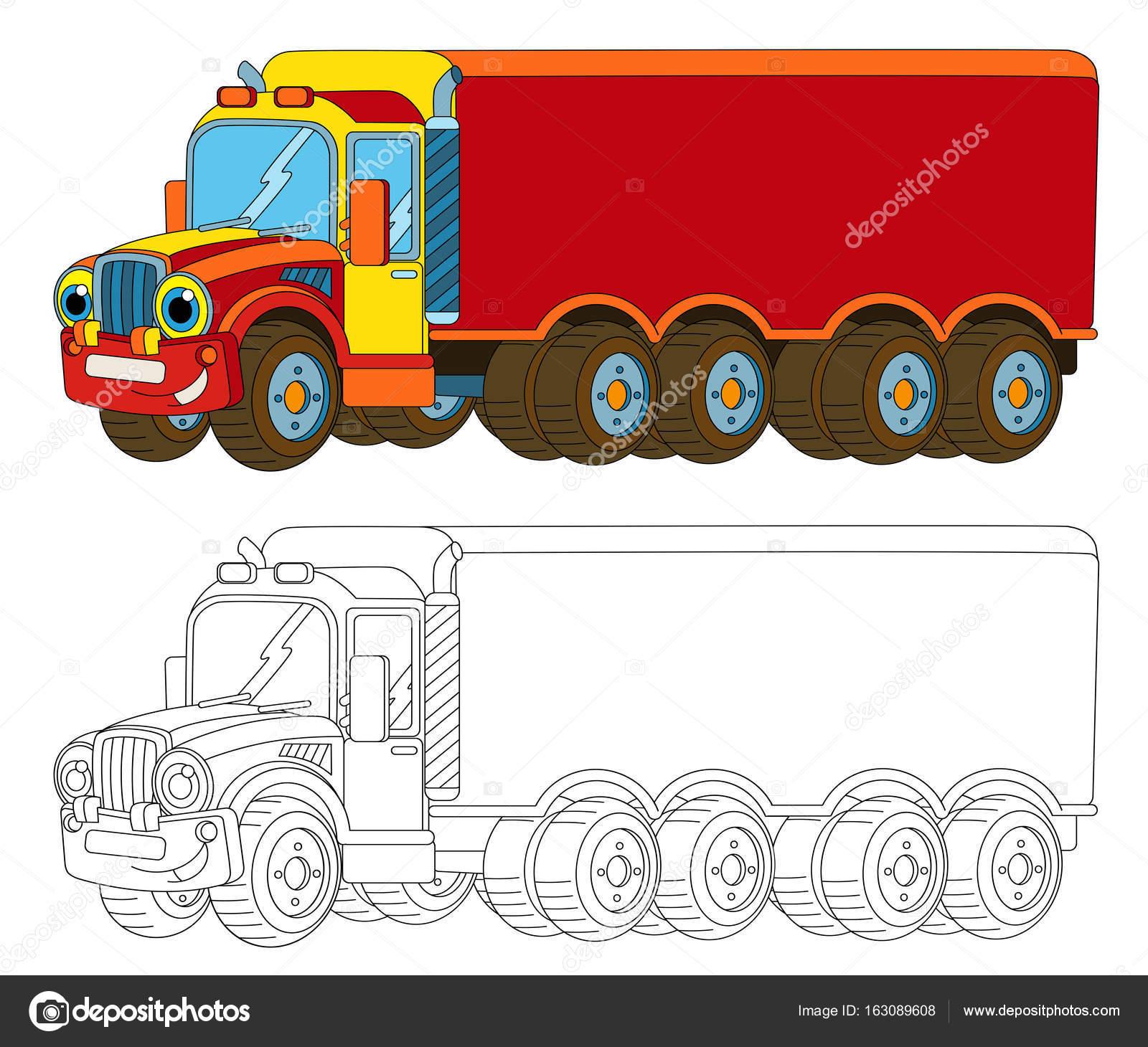 Lading Vrachtwagen Met Aanhangwagen Kleurplaat Pagina Stockfoto