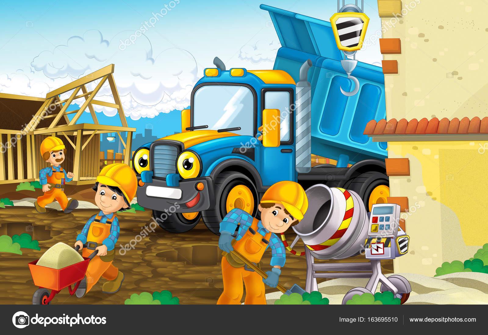 obra con camiones pesados y los trabajadores — Foto de stock ...