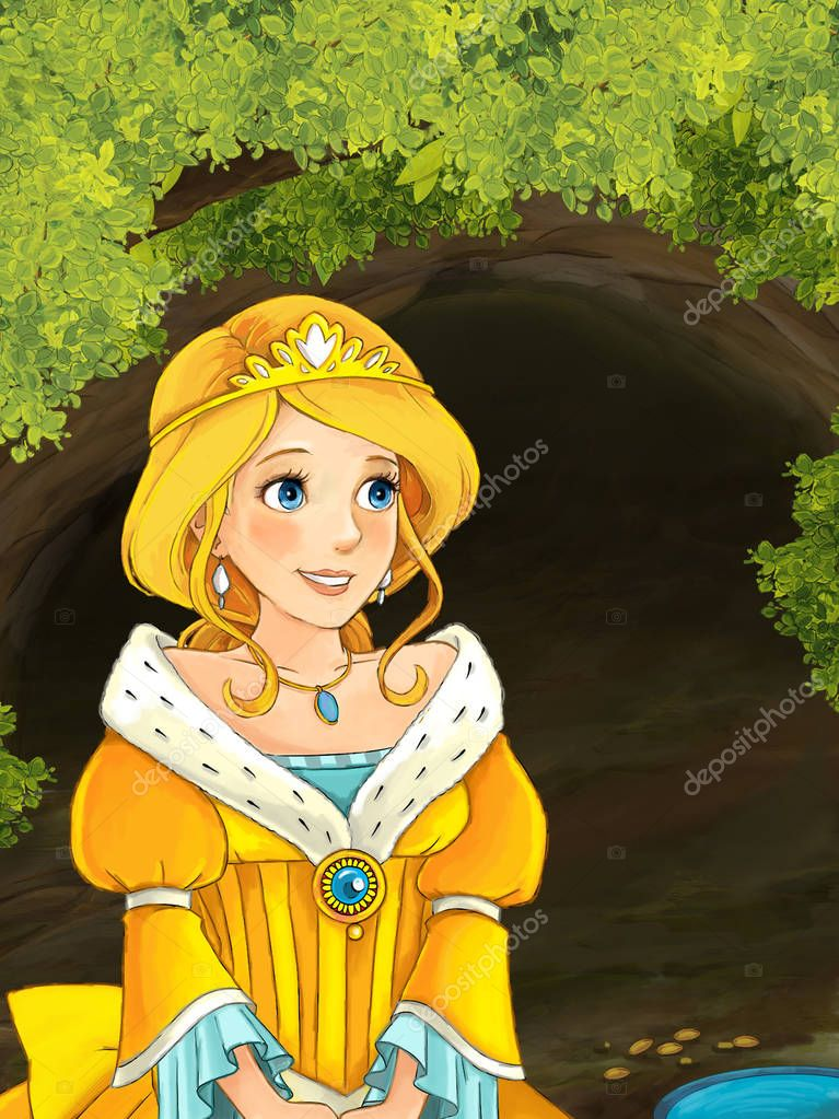 princess standing near pond and hole or cave