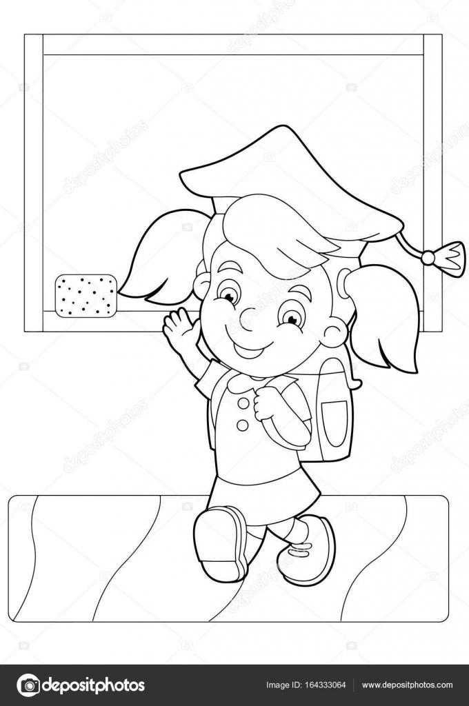 Kız Yakınındaki Okulun Yazı Tahtası Stok Vektör Illustratorhft