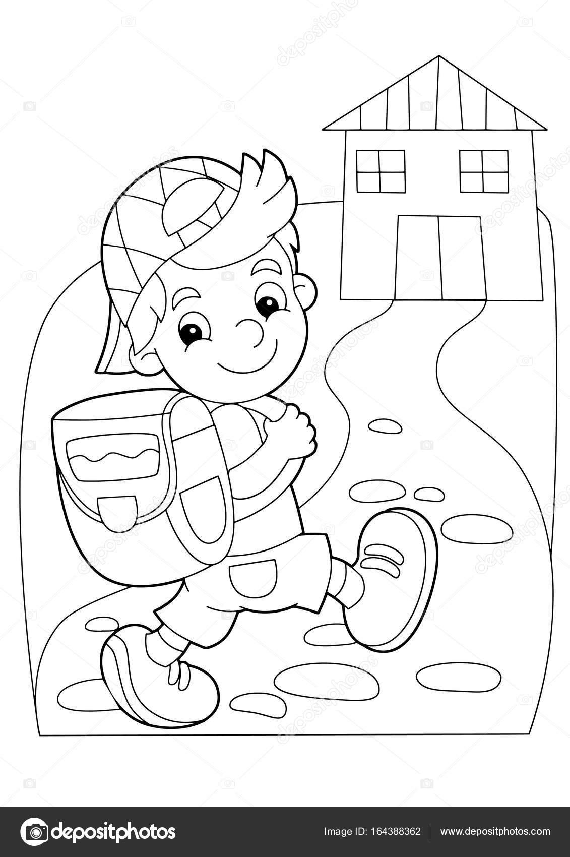 Boyama Plaka Okula Giden çocuk Stok Vektör Illustratorhft