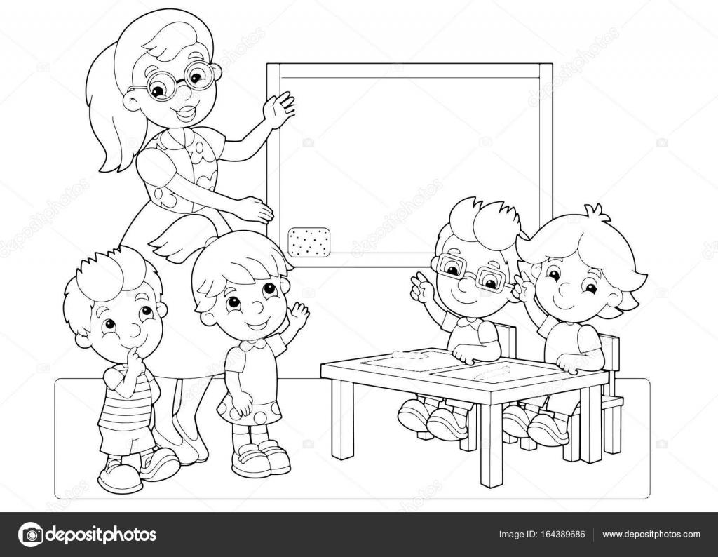 çocuk Ve El Ele Tutuşarak Sınıfta öğretmen Stok Vektör