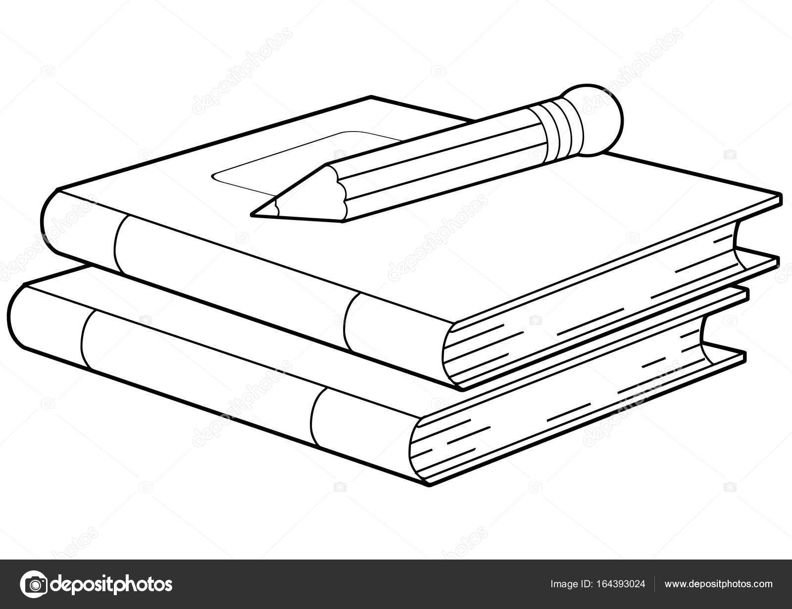 Dibujos Para Colorear De Libro Y Libreta: Cuadernos O Libros Y Lápiz
