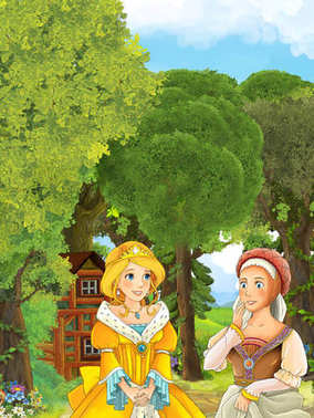 princess in the forest talking to other girl