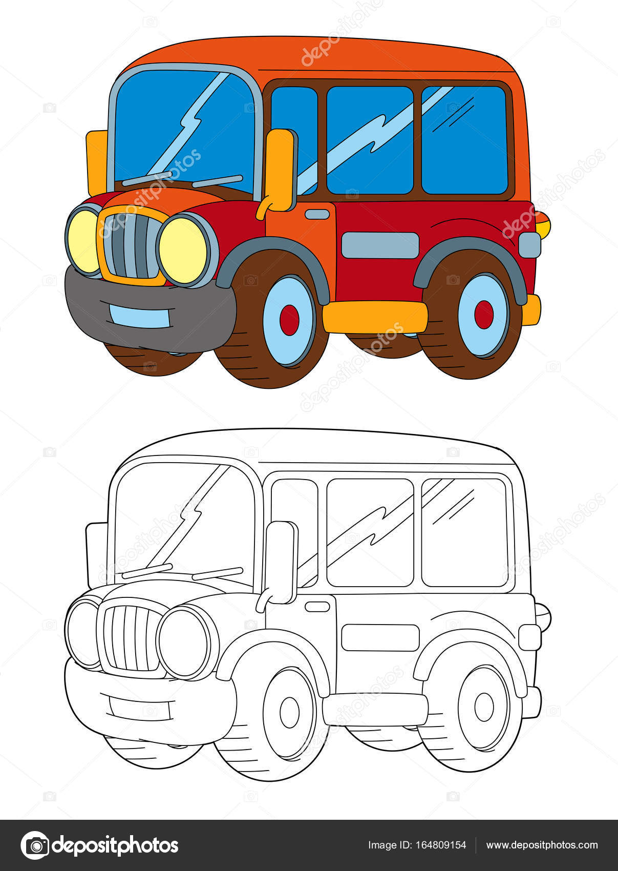 Autobús de dibujos animados feliz y divertido de la historieta ...