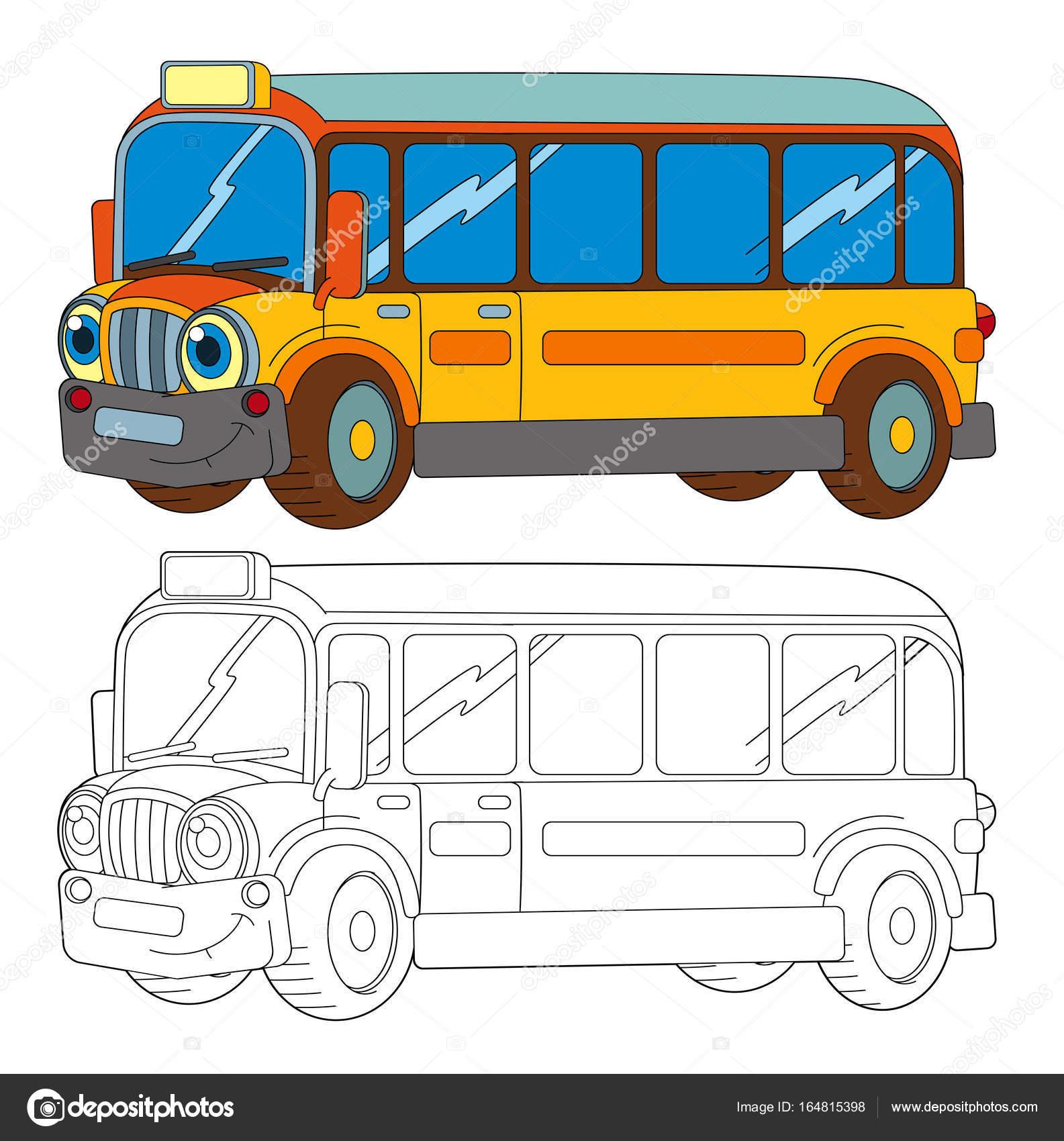 Imágenes Autobus Para Colorear Divertidos Dibujos Animados
