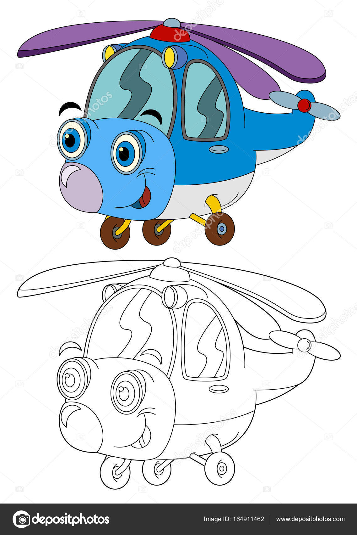 Cartoon Hubschrauber - isolierte Malvorlagen — Stockfoto ...