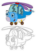 cartoon helicopter - isolated coloring page