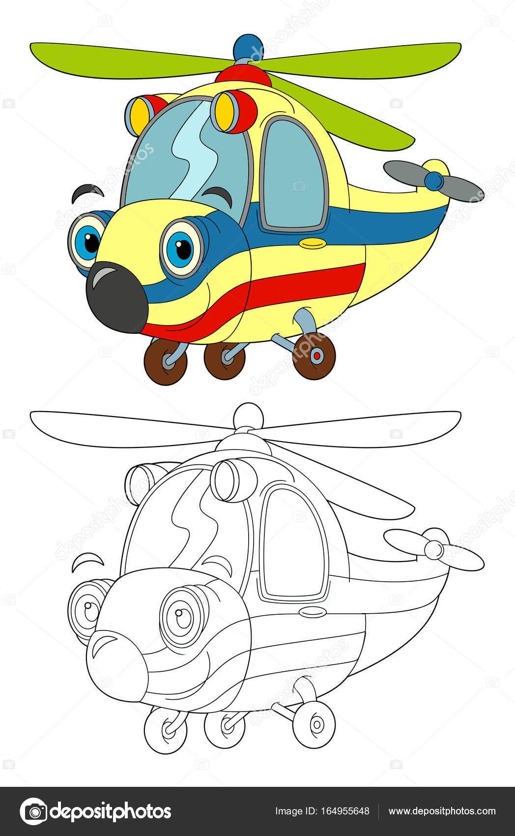 helicóptero ambulancia de dibujos animados con página para colorear ...
