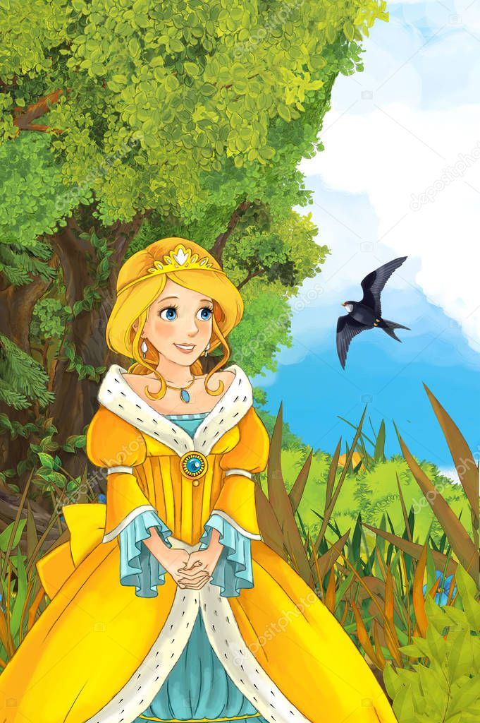princess in the nature with bird flying