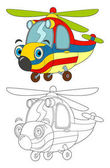 cartoon ambulance helicopter with coloring page