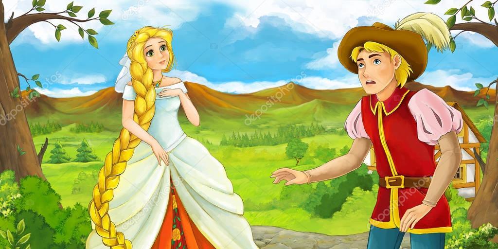prince and princess talking outside