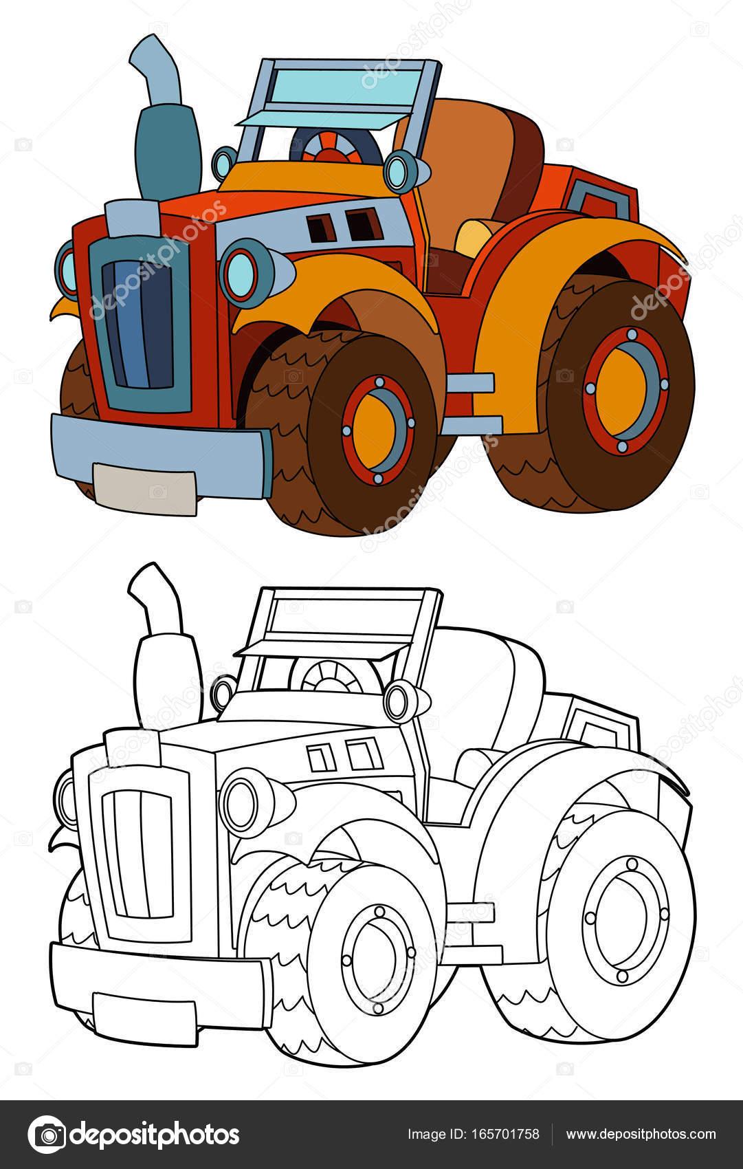 tractor de granja de dibujos animados con página para colorear ...