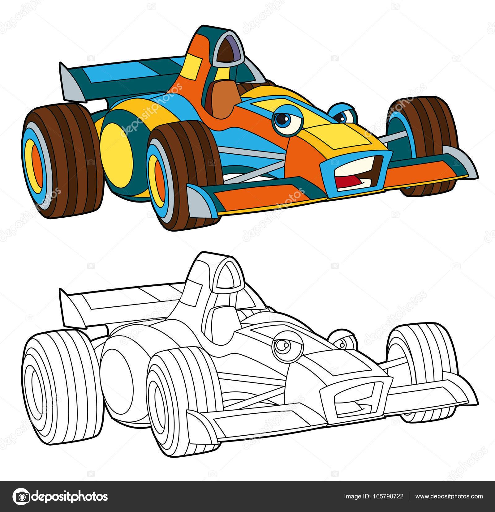 Boyama Sayfası Izole Yarış Araba Stok Foto Illustratorhft