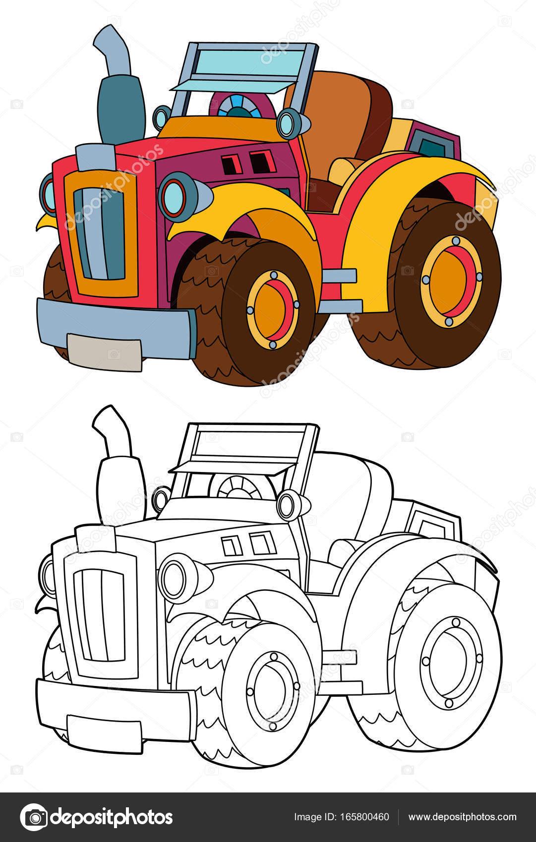 Tracteur de ferme de dessin anim avec coloriage photographie illustrator hft 165800460 - Dessin anime avec tracteur ...