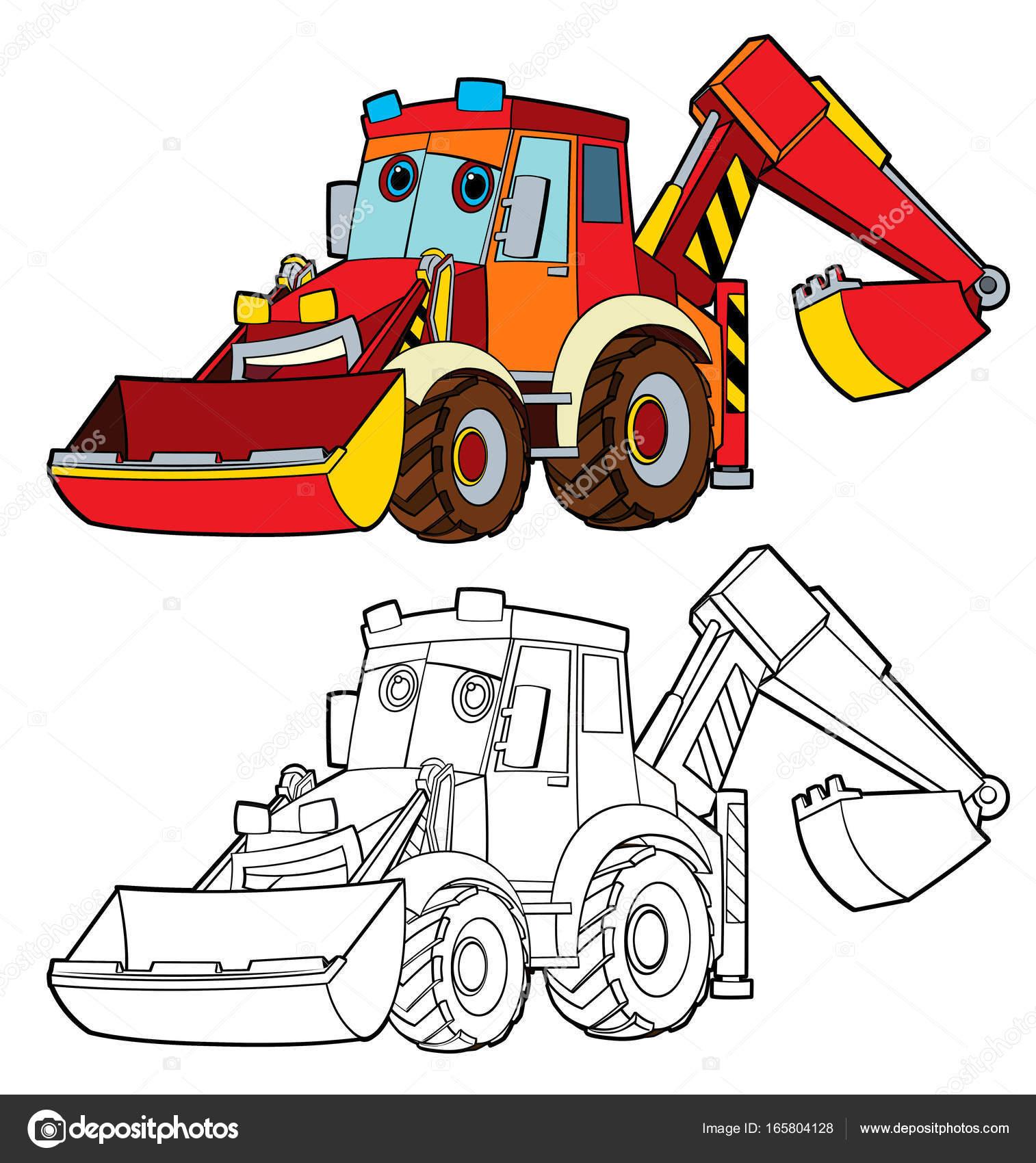 Cartoon Funny Graafmachine Met Kleurplaat Pagina Stockfoto