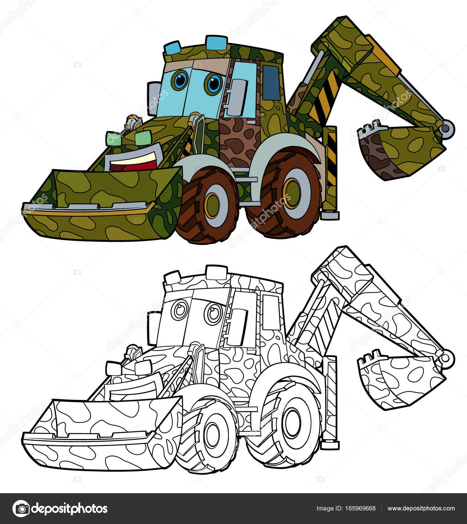 excavadoras militares divertidos dibujos animados — Foto de stock ...
