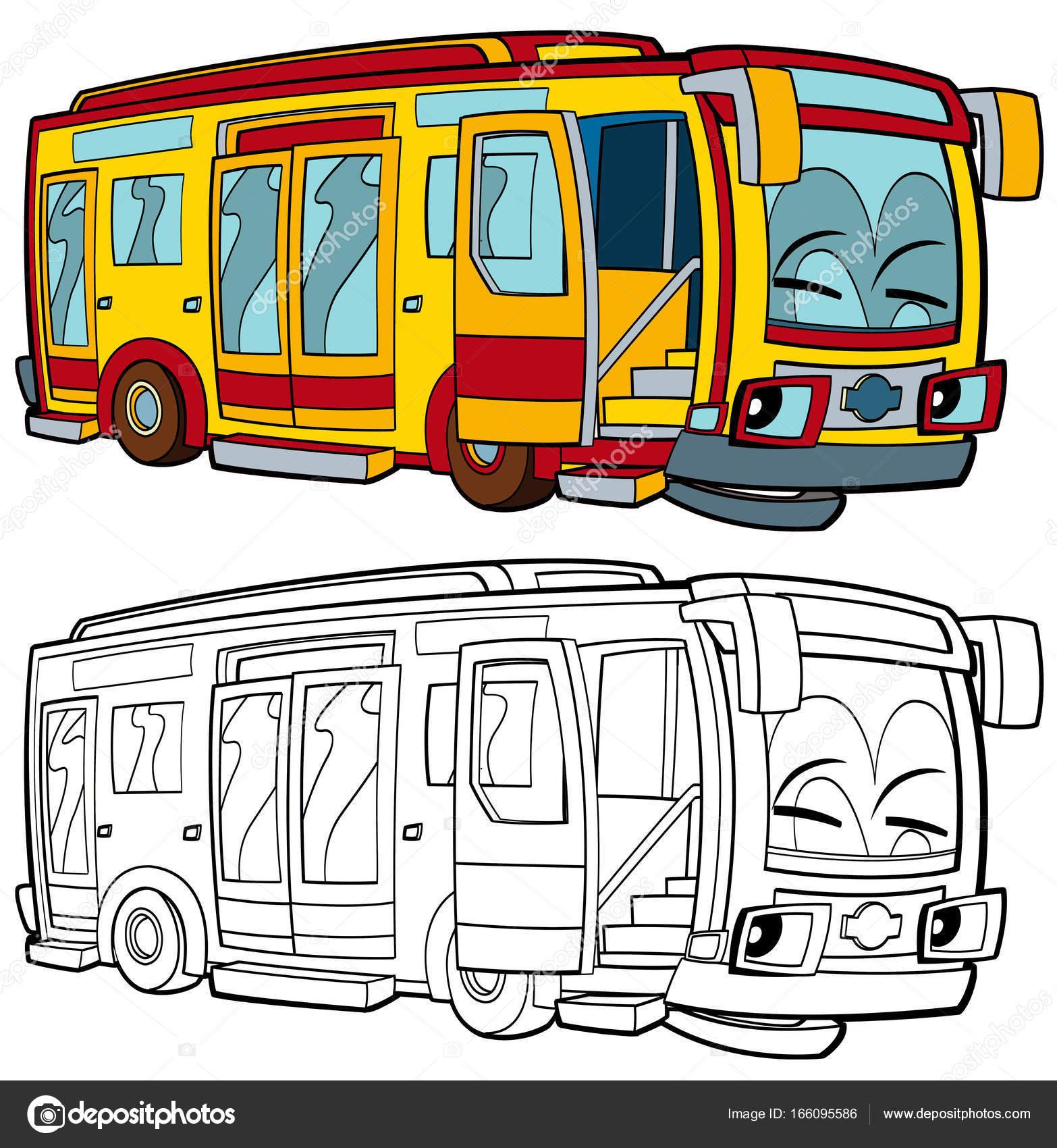 glücklich und lustige Cartoon-bus — Stockfoto © illustrator_hft ...
