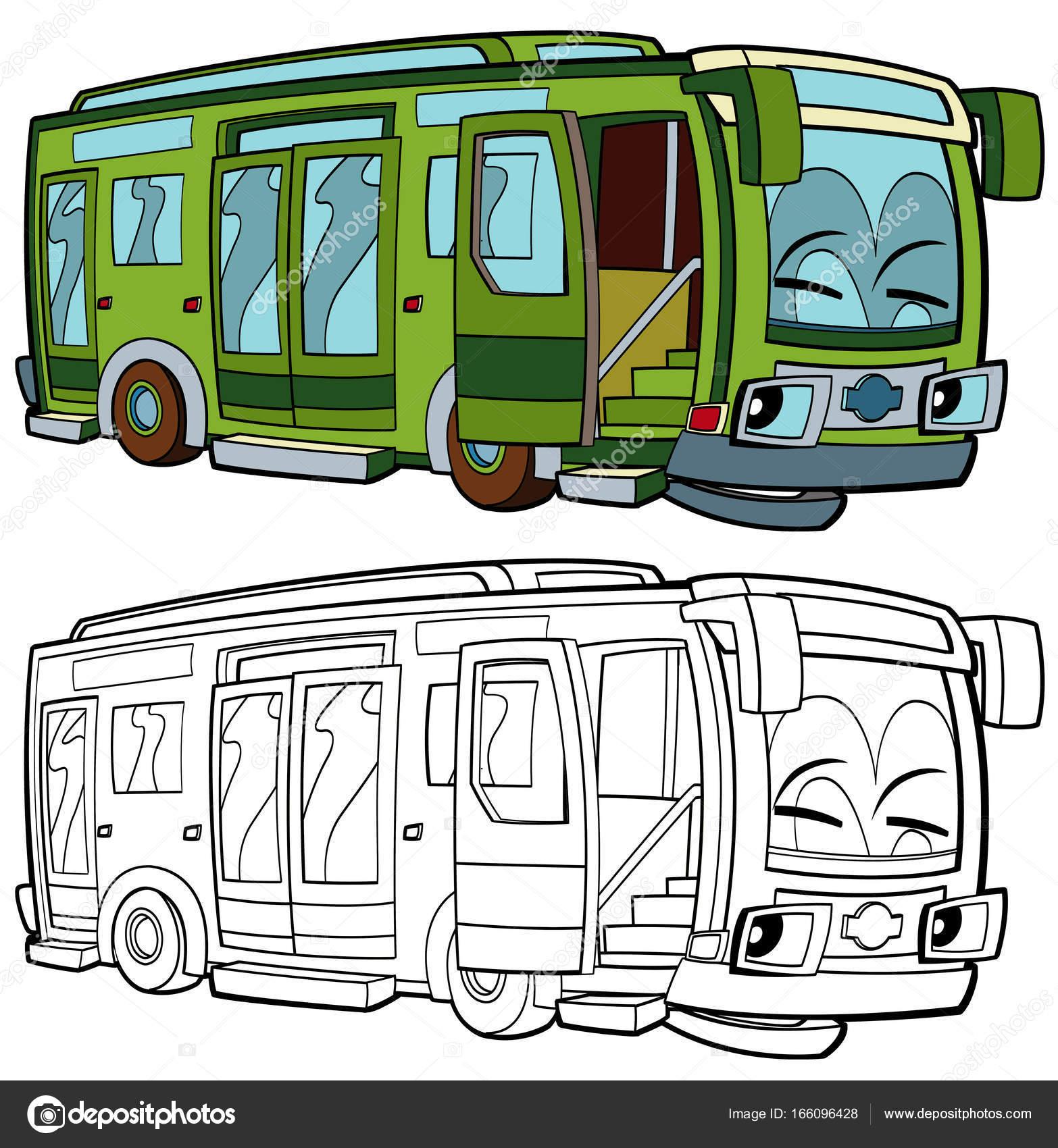 Счастливый и забавный мультяшный автобус — Стоковое фото ...