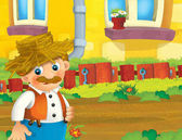 Photo cartoon scene with happy man working on the farm - illustration for children
