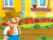 kreslený scény s šťastný muž pracuje na farmě - ilustrace pro děti