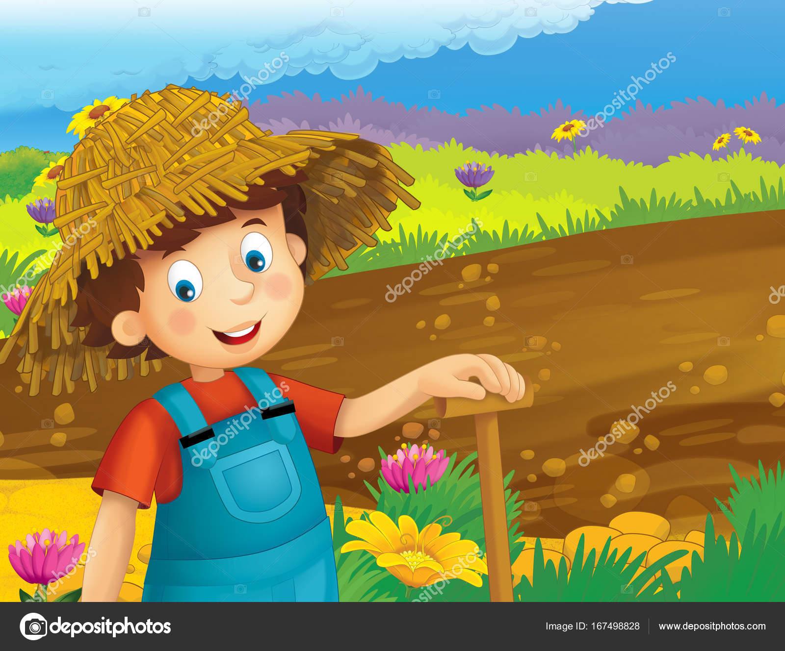 Imagenes Un Nino Trabajando En El Campo Escena Dibujos Animados