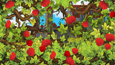 Cartoon scene of rose garden near castle in the background illustration for children
