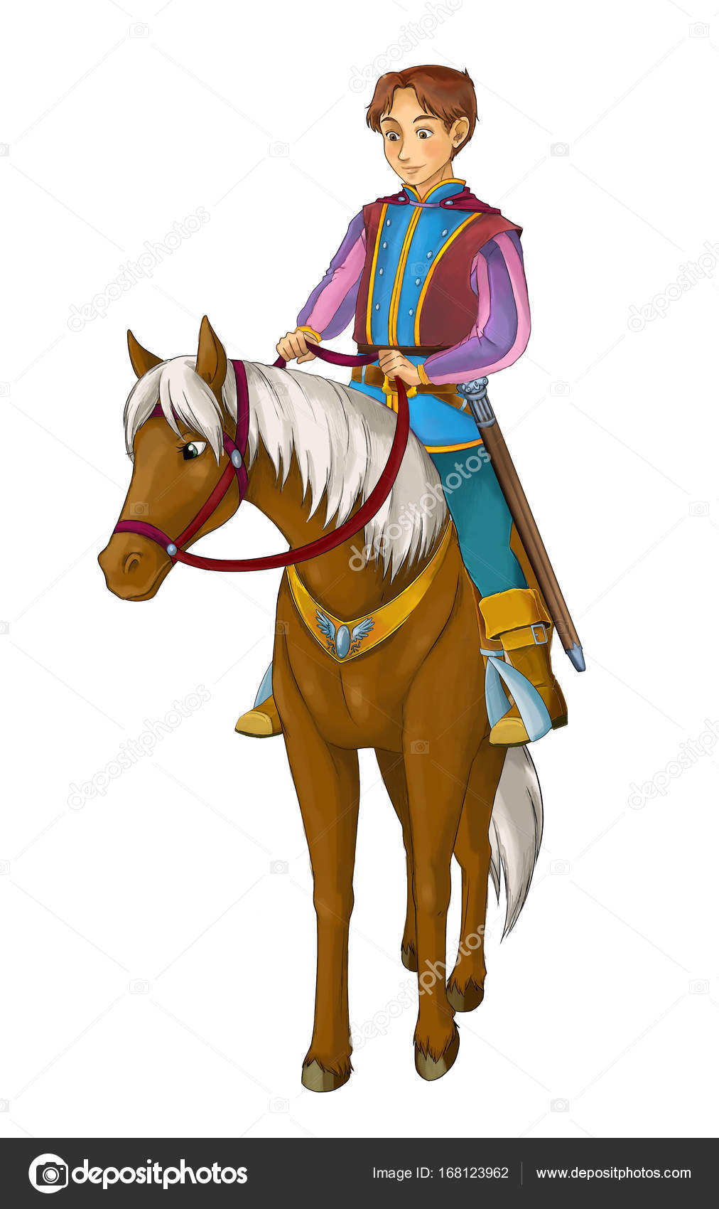 Cartoon Medieval Nobleman Horse Illustration Children Stock Photo C Illustrator Hft 168123962