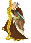 Fotografie fairy tale cartoon character - old woman - witch or sorceress climbing - illustration for the children
