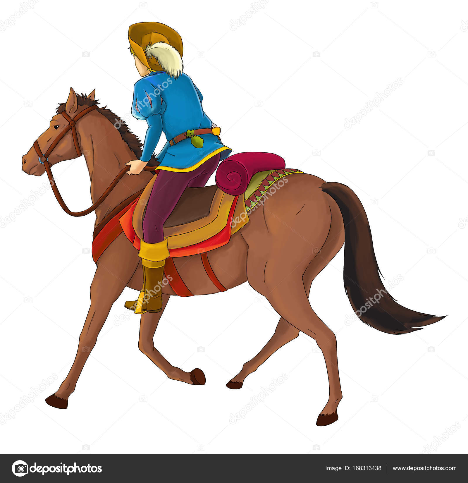 Cartoon Medieval Nobleman Horse Illustration Children Stock Photo C Illustrator Hft 168313438